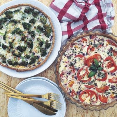 Tærte med broccoli og hytteost og tomattærte med hytteost