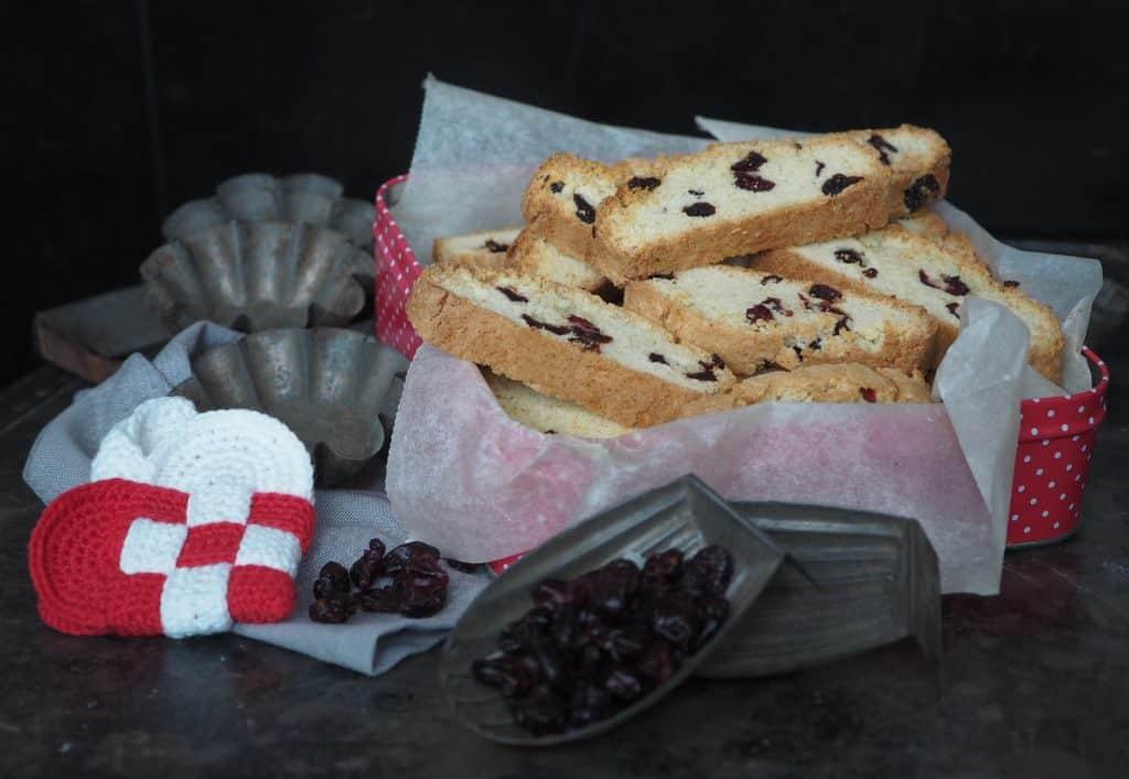 Biscotti opkrift tranebær og marcipan biscotti
