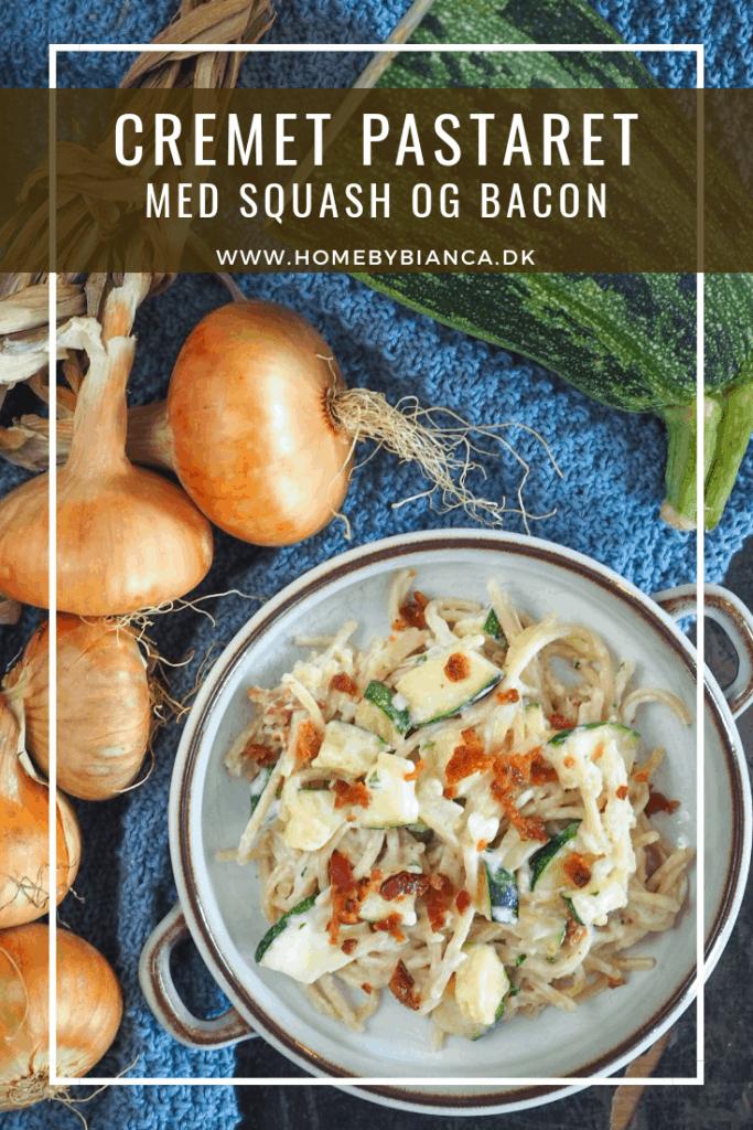 Cremet pastaret med squash og bacon opskrift